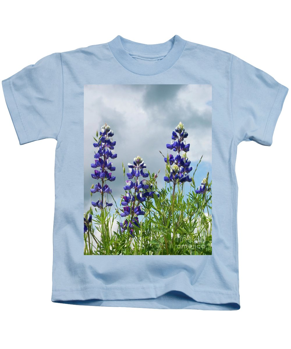 Lupine Kids T-Shirt featuring the photograph Lupines Against The Sky by Jim And Emily Bush