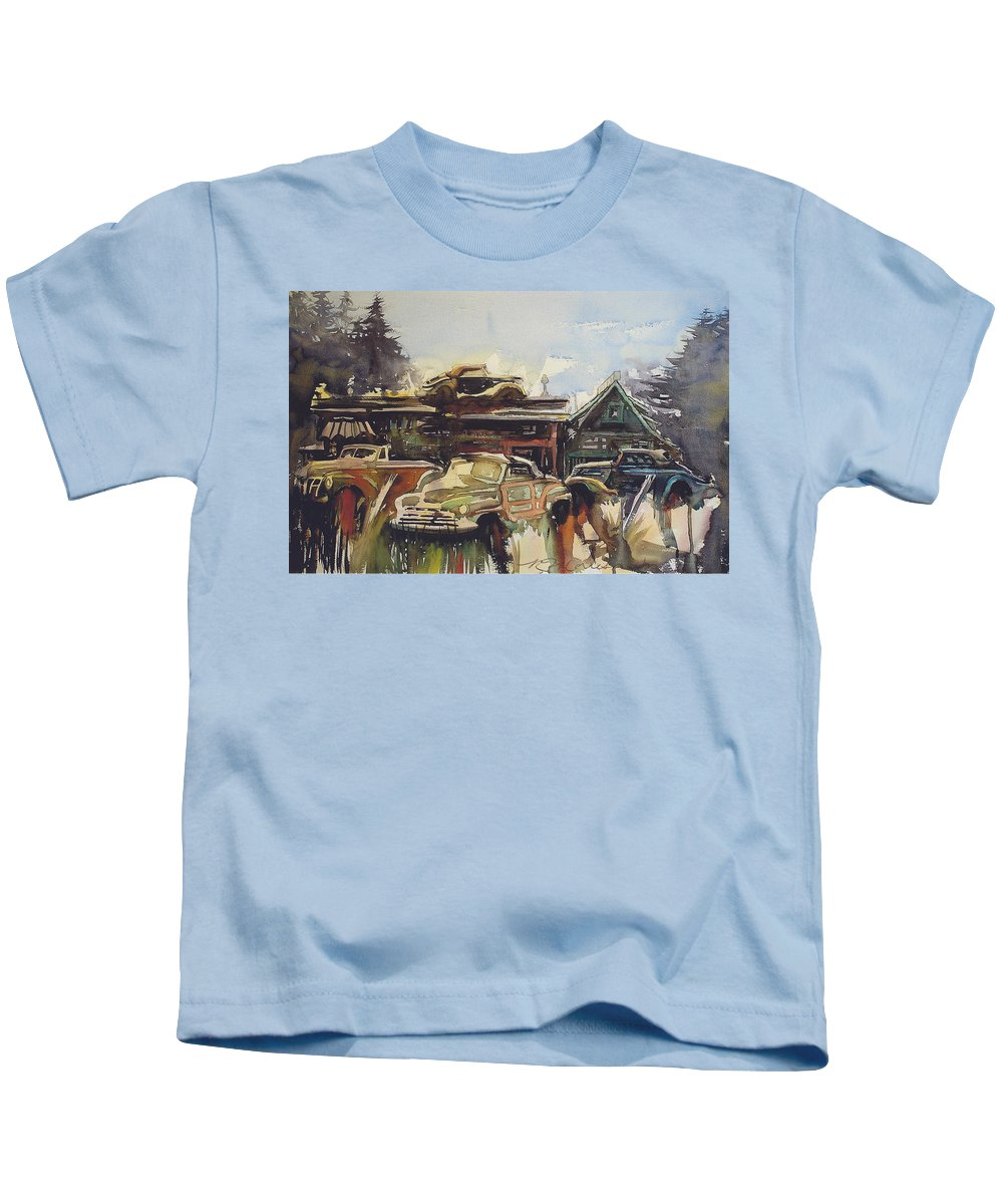 Fords Kids T-Shirt featuring the painting Lytton Station 16 by Ron Morrison