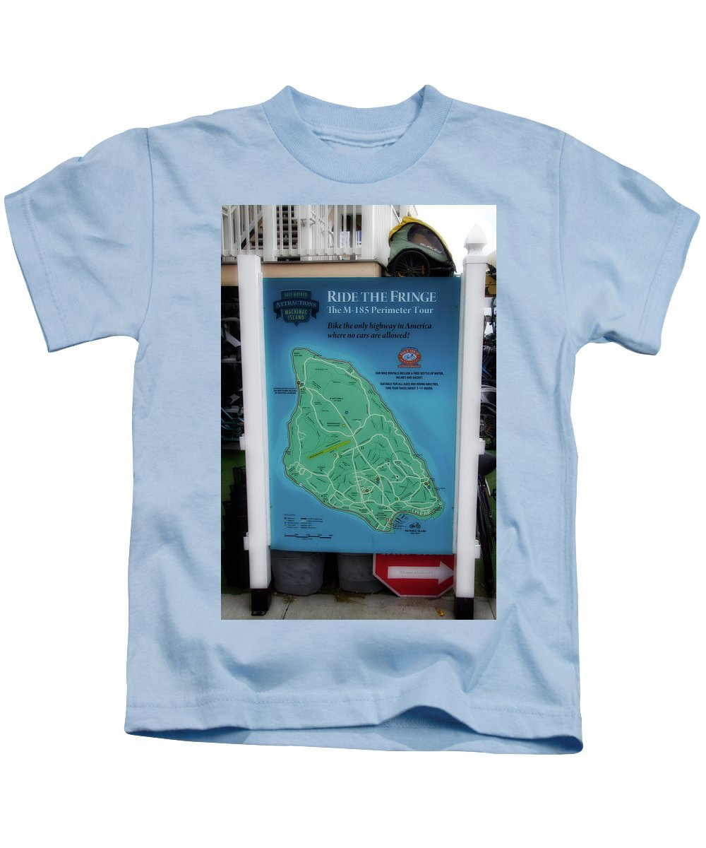 Mackinac Kids T-Shirt featuring the photograph M 185 Ride The Fringe Signage Mackinac Island Michigan Vertical by Thomas Woolworth