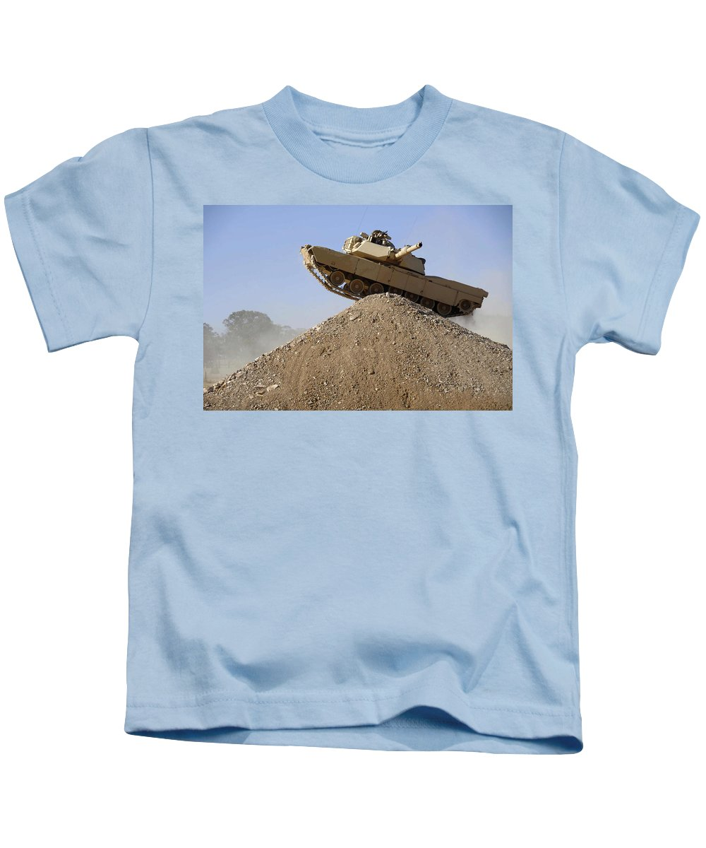 M1 Abrams Kids T-Shirt featuring the digital art M1 Abrams by Dorothy Binder