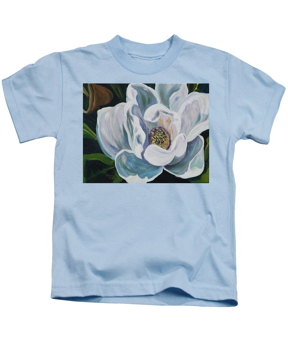 Floral Kids T-Shirt featuring the painting Magnolia by Donna Drake