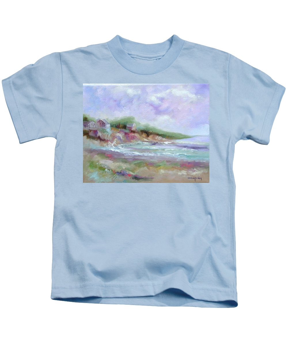 Maine Coastline Kids T-Shirt featuring the painting Maine Coastline by Ginger Concepcion
