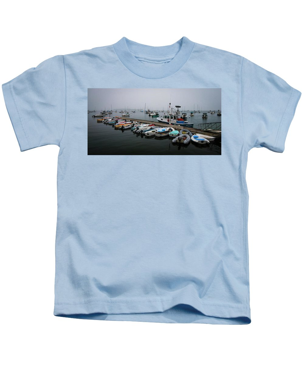Maine Kids T-Shirt featuring the photograph Maine Falmouth Boat Landing On Misty Morning Panorama by Ranjay Mitra