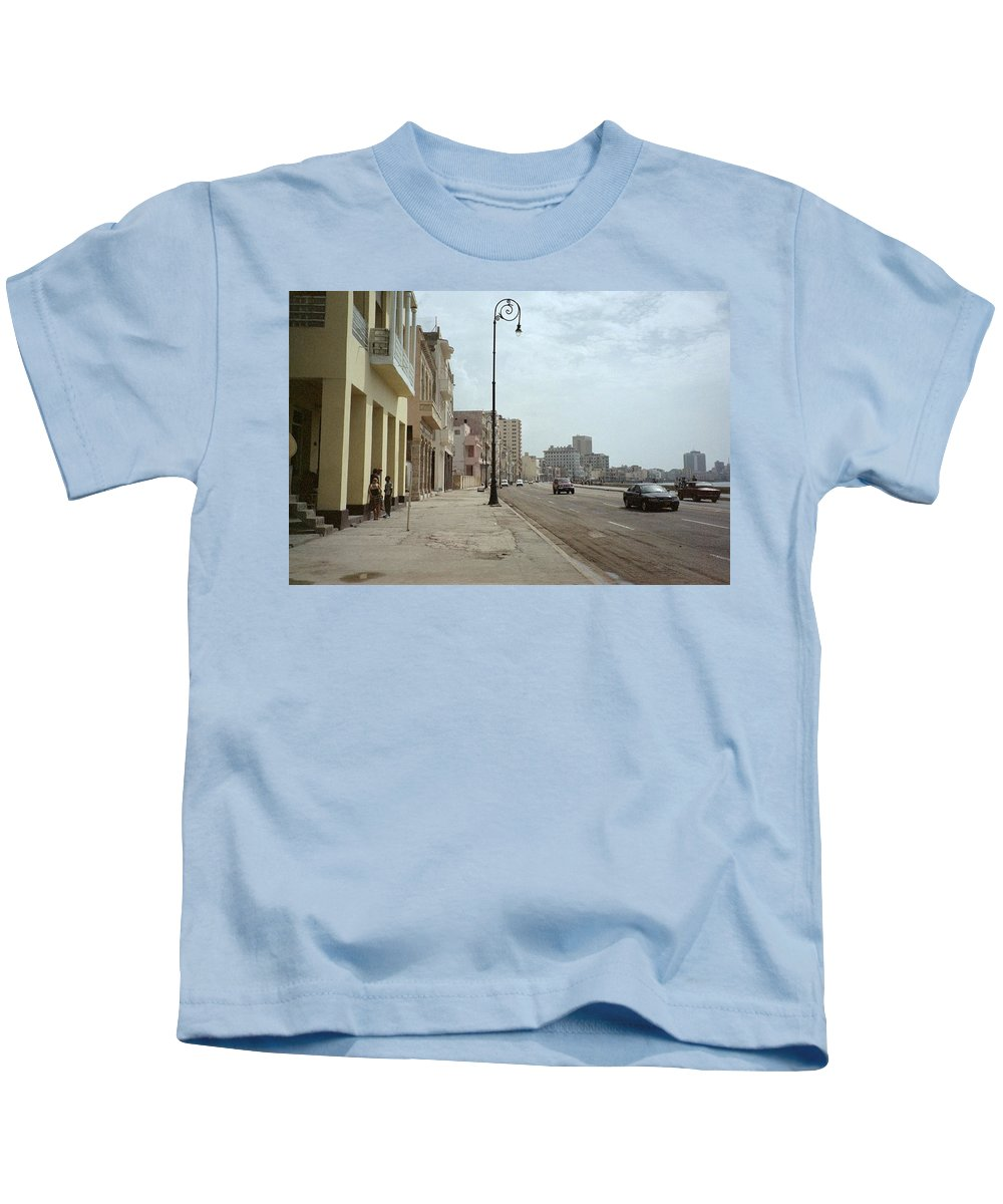 Quin Sweetman Kids T-Shirt featuring the photograph Malecon En Havana by Quin Sweetman