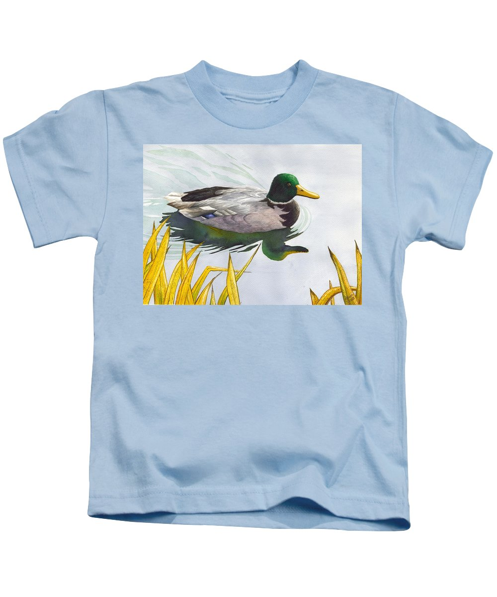 Duck Kids T-Shirt featuring the painting Mallard by Catherine G McElroy