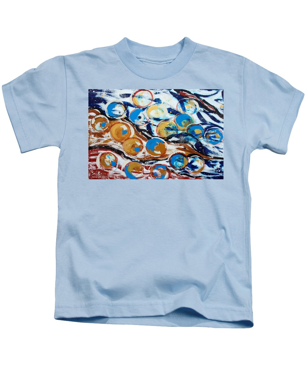 Marbles Kids T-Shirt featuring the painting Marbles Of Life by Gina De Gorna