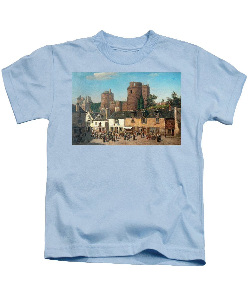 Oscar Kleineh Kids T-Shirt featuring the painting Marketplace In Vitre by MotionAge Designs