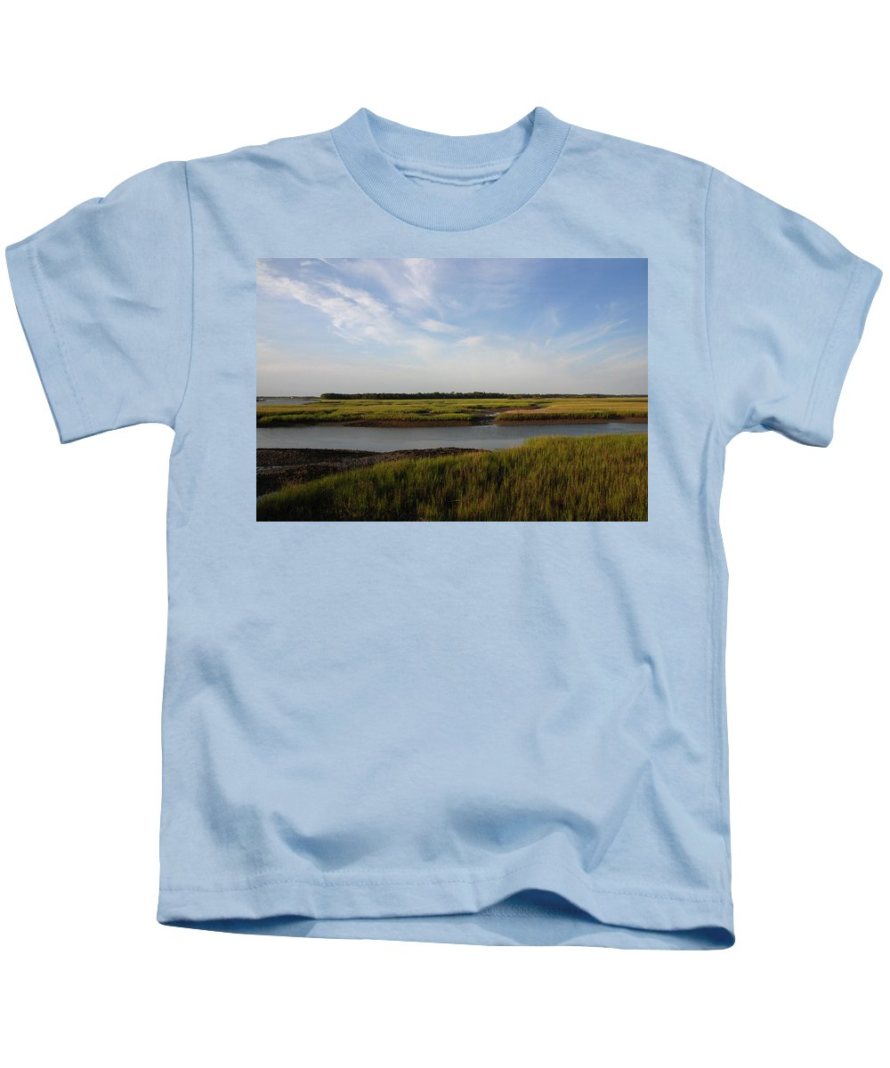 Photography Kids T-Shirt featuring the photograph Marsh Scene Charleston Sc by Susanne Van Hulst