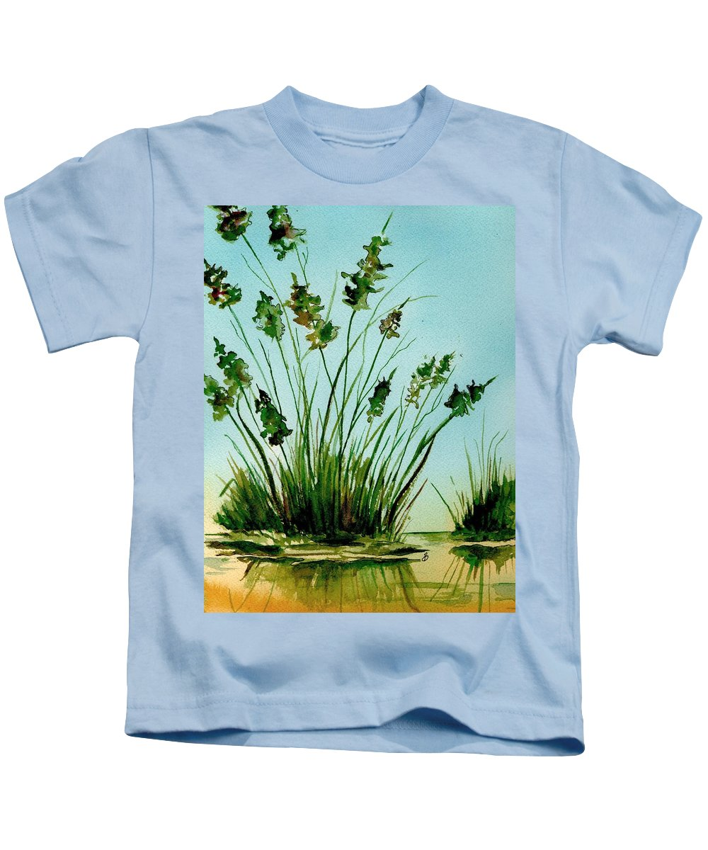 Landscape Kids T-Shirt featuring the painting Marsh Weeds by Brenda Owen