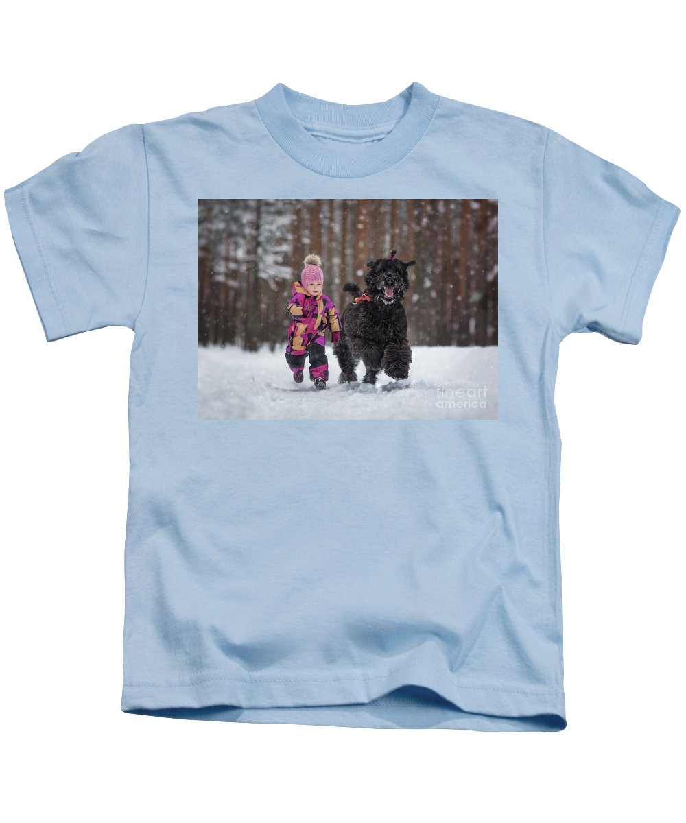 Black Russian Terriers Kids T-Shirt featuring the photograph Matching Pompoms by Andy Seliverstoff