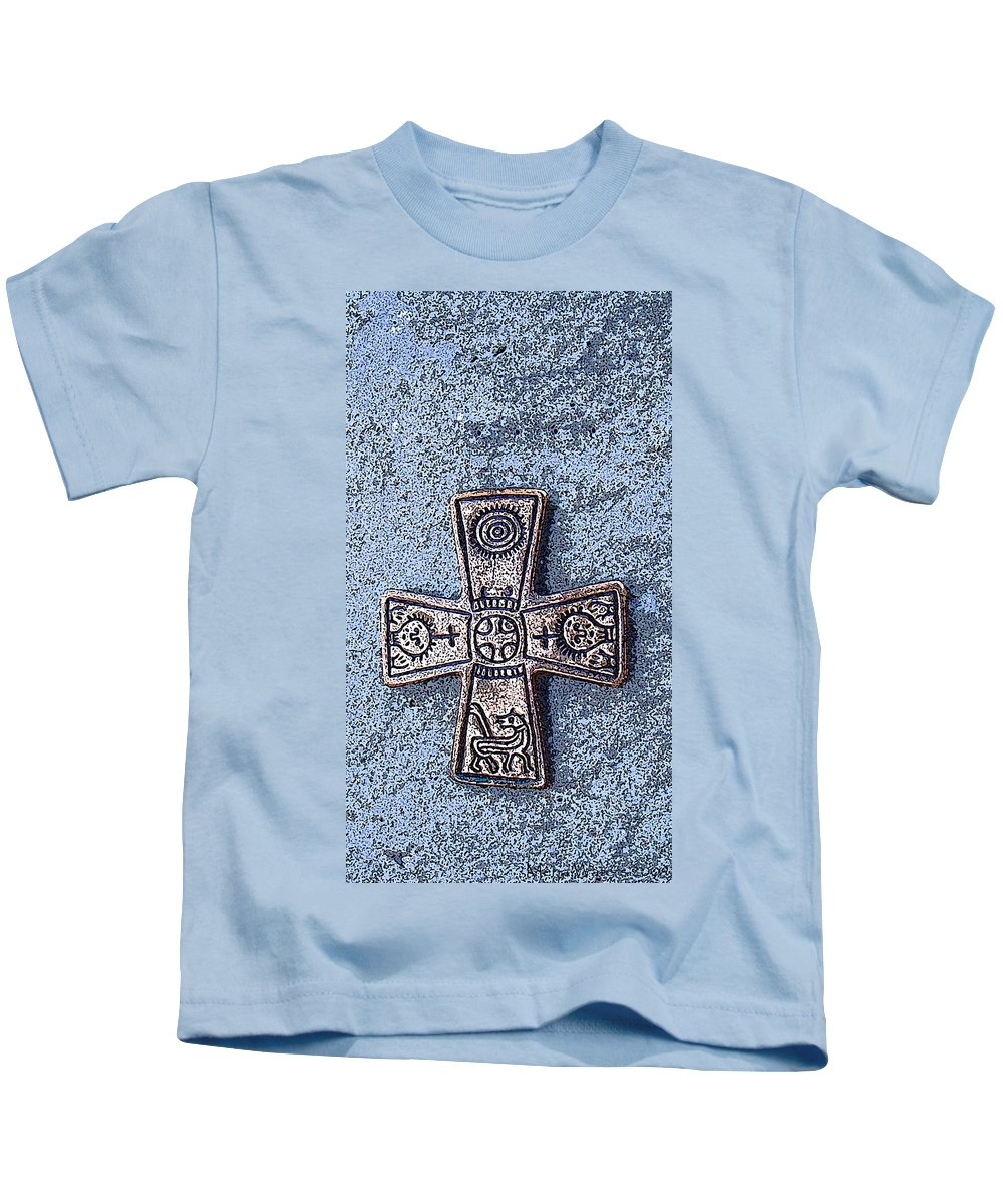 Cross Kids T-Shirt featuring the photograph Medieval Nordic Cross by Merja Waters