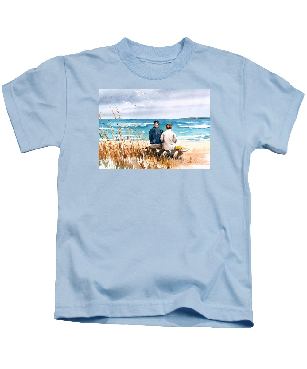 Couple On Beach Kids T-Shirt featuring the painting Memories by Art Scholz