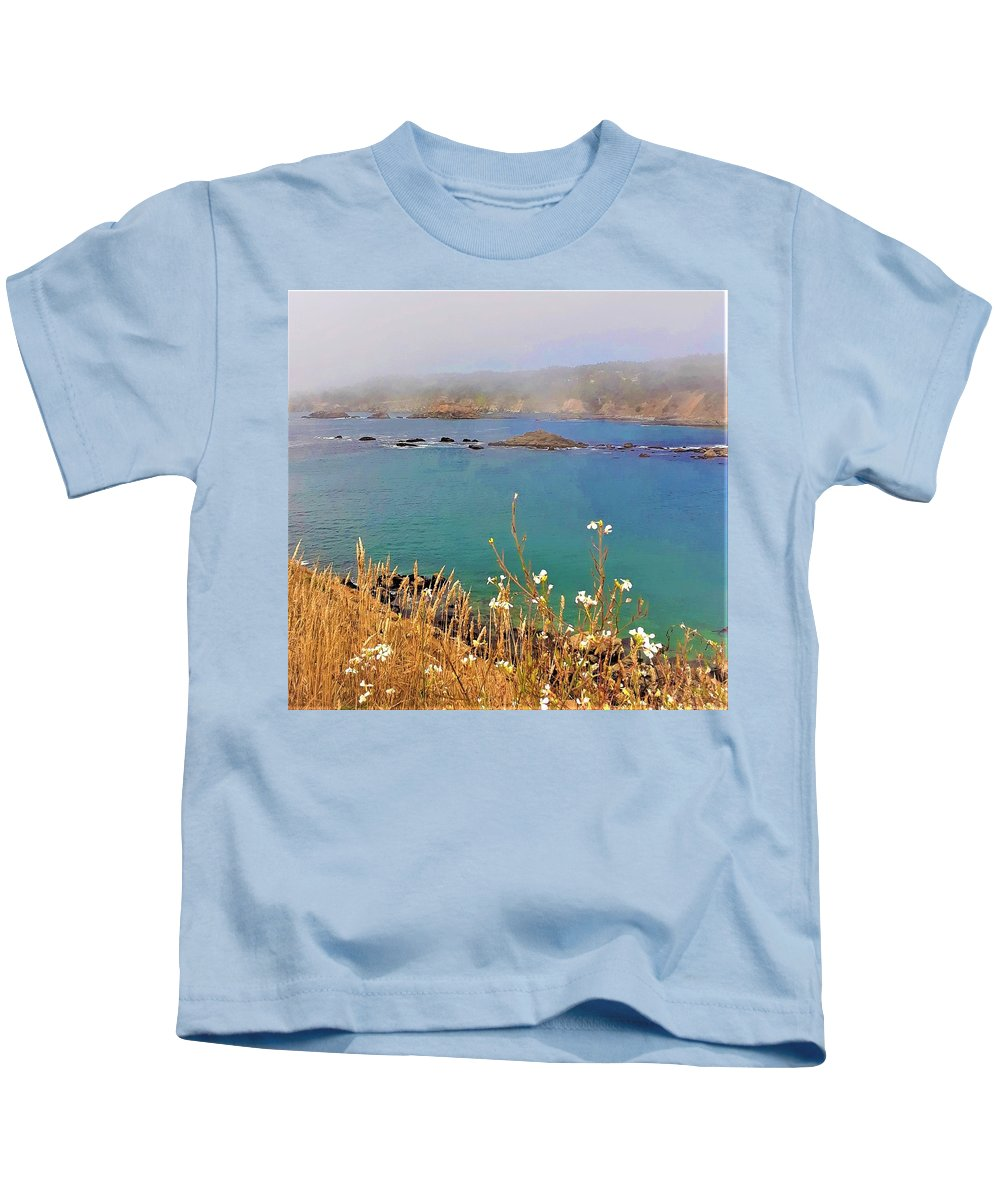 Mendocino Kids T-Shirt featuring the photograph Mendocino Headlands by Lisa Dunn