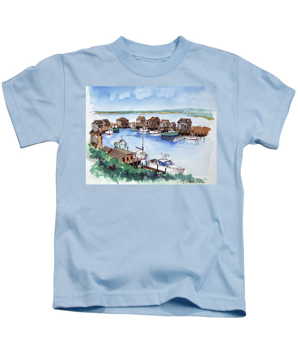 Marine Kids T-Shirt featuring the painting Menemsha Safe Haven by John Crowther