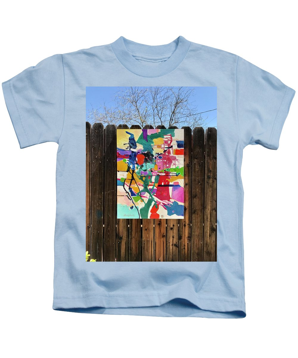 Abstract Kids T-Shirt featuring the painting Meridian by Atanas Karpeles