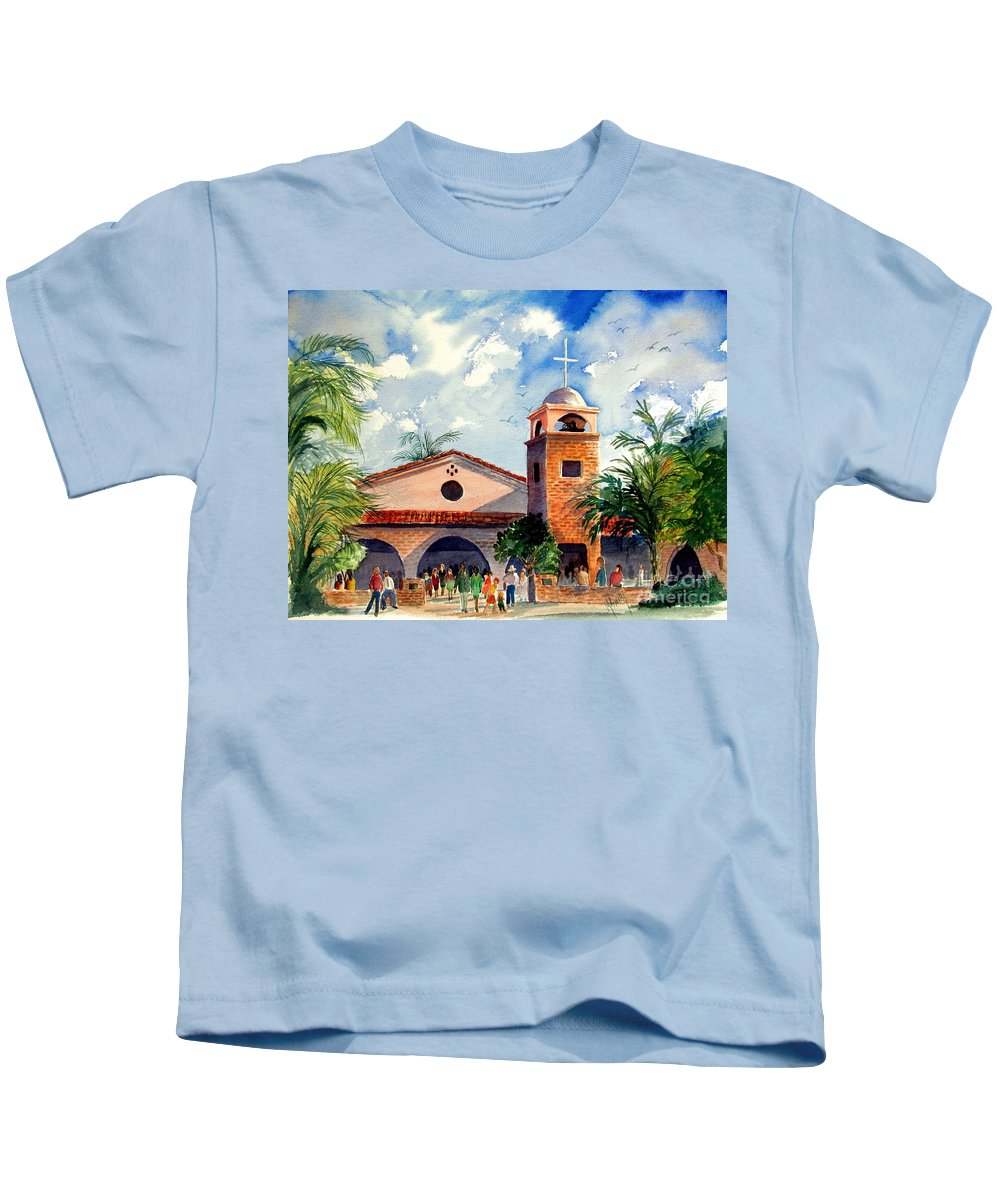 Church Kids T-Shirt featuring the painting Methodist Church Gilbert Az by Marilyn Smith