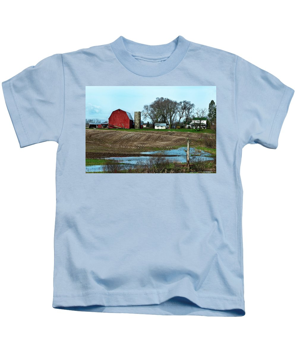 Barn Kids T-Shirt featuring the photograph Michigan Farm by Onyonet Photo Studios