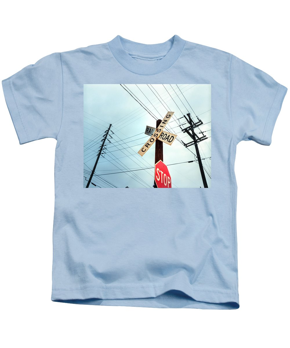 Business Finance And Industry Kids T-Shirt featuring the photograph Mid West Crossroad, Usa by Ruurd Dankloff