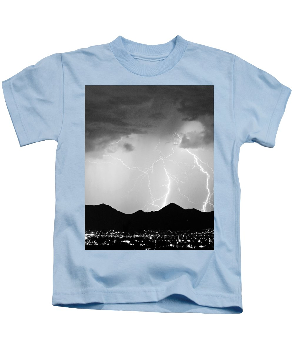 Lightning Kids T-Shirt featuring the photograph Midnight Hour Black And White by James BO Insogna