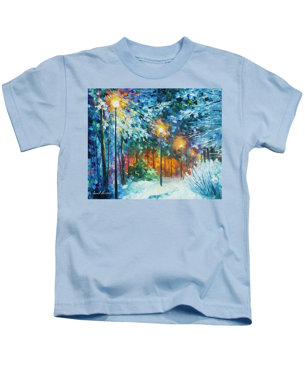 Art Kids T-Shirt featuring the painting Midnight Snow Songs by Leonid Afremov