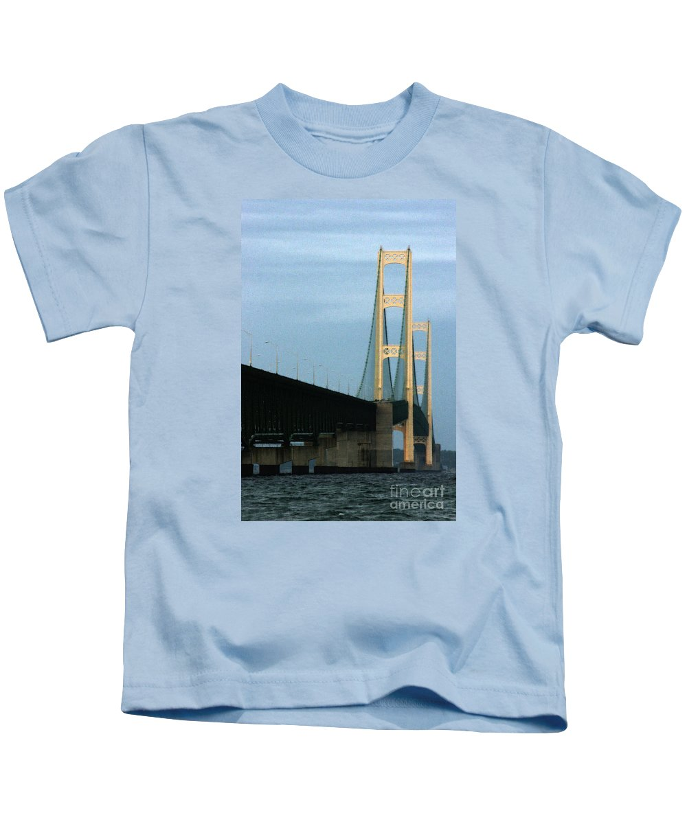 Bridge Kids T-Shirt featuring the photograph Mighty Mac by Linda Shafer