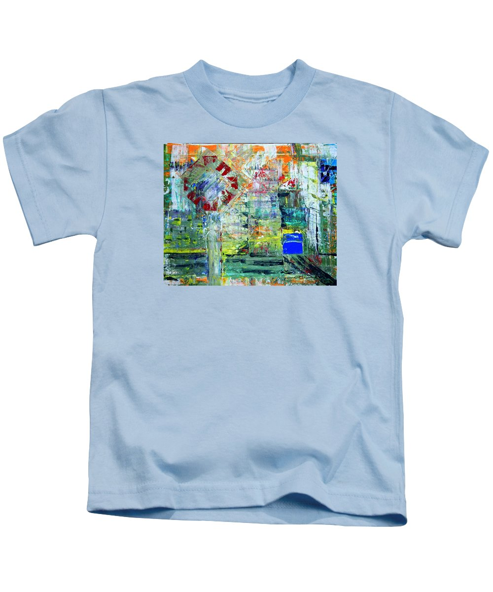 Abstract Kids T-Shirt featuring the painting Milton Place by J R Seymour