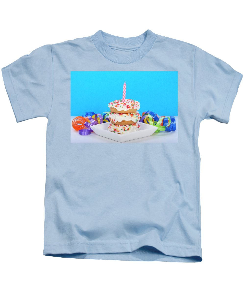 Bakery Kids T-Shirt featuring the photograph Mini Donut Cake With Blue Candle By Sheila Fitzgerald Mini Donut Cake With Pink Candle by Sheila Fitzgerald