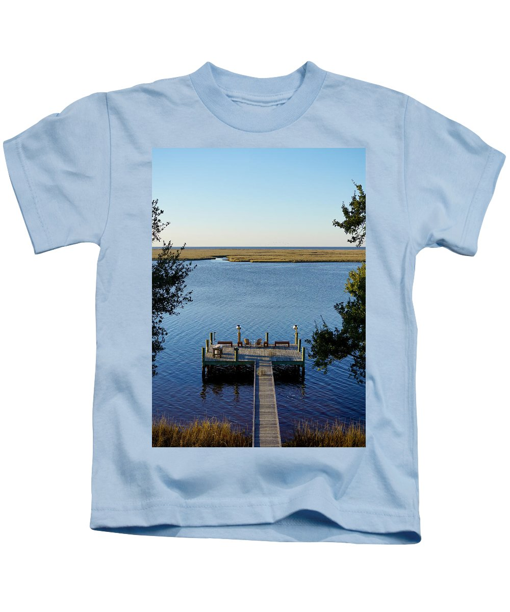 Mississippi Dock Coast Water Gulf Mexico Reflection Peaceful Tranquil Ocean Kids T-Shirt featuring the photograph Mississippi Paradise by Pete Mikelson