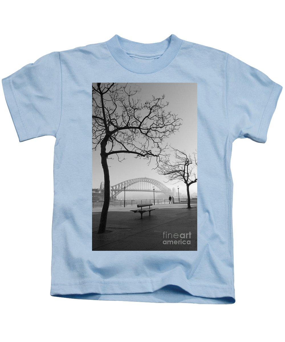 Sydney Harbour Bridge Mist Australia Kids T-Shirt featuring the photograph Misty Sydney morning by Sheila Smart Fine Art Photography