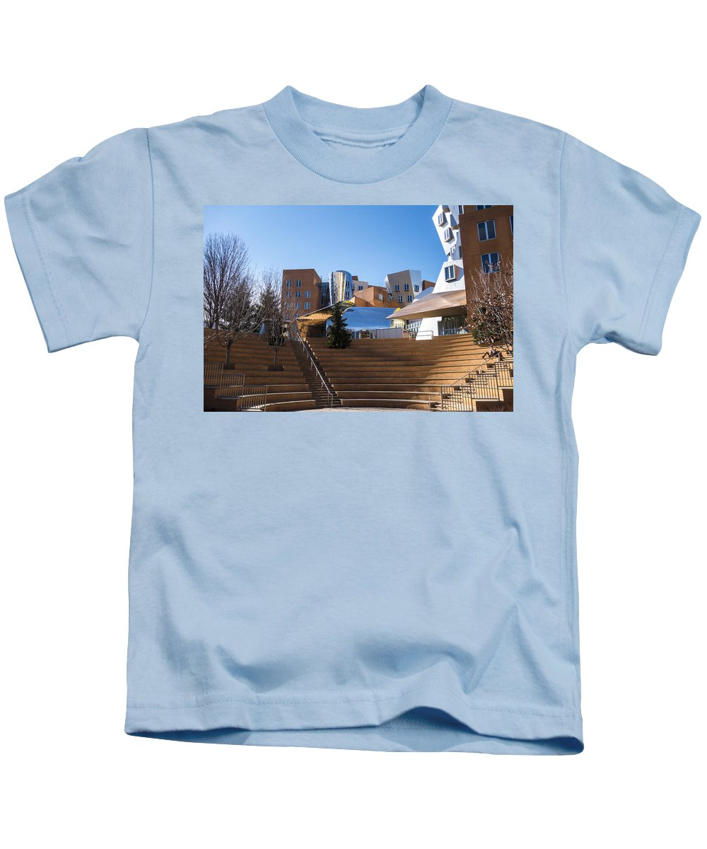 Mit Kids T-Shirt featuring the photograph Mit Stata Center Cambridge Ma Kendall Square M.i.t. Staircase by Toby McGuire