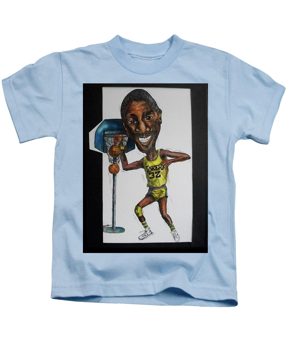 Magic Johnson Kids T-Shirt featuring the mixed media Mj Caricature by Michelle Gilmore