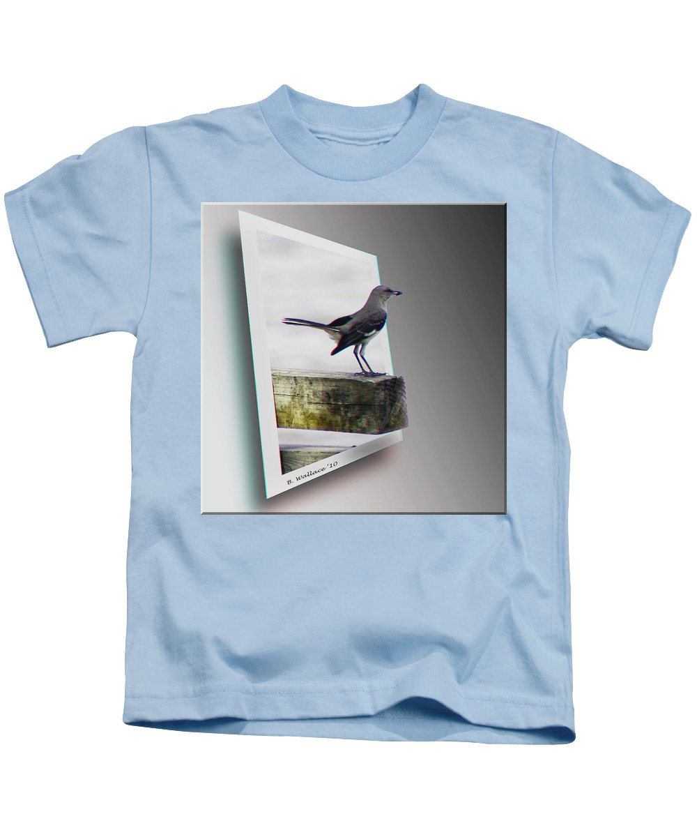 3d Kids T-Shirt featuring the photograph Mockingbird - Use Red-cyan 3d Glasses by Brian Wallace