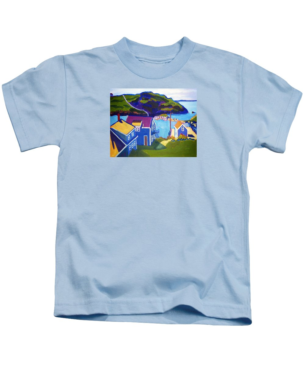Seascape Kids T-Shirt featuring the painting Monhegan Harbor by Debra Bretton Robinson