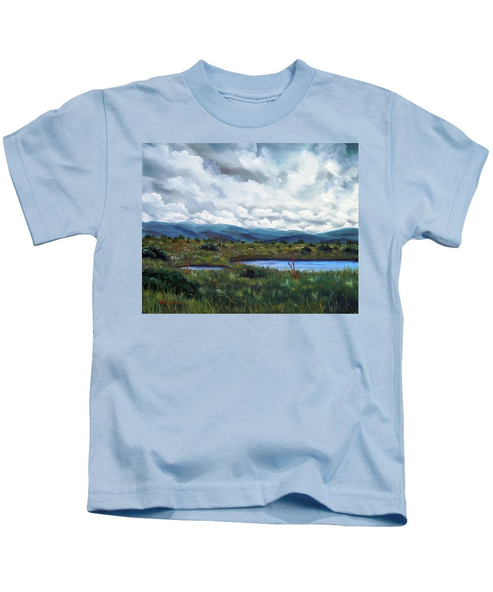 California Kids T-Shirt featuring the painting Moody Wetlands by Laura Iverson