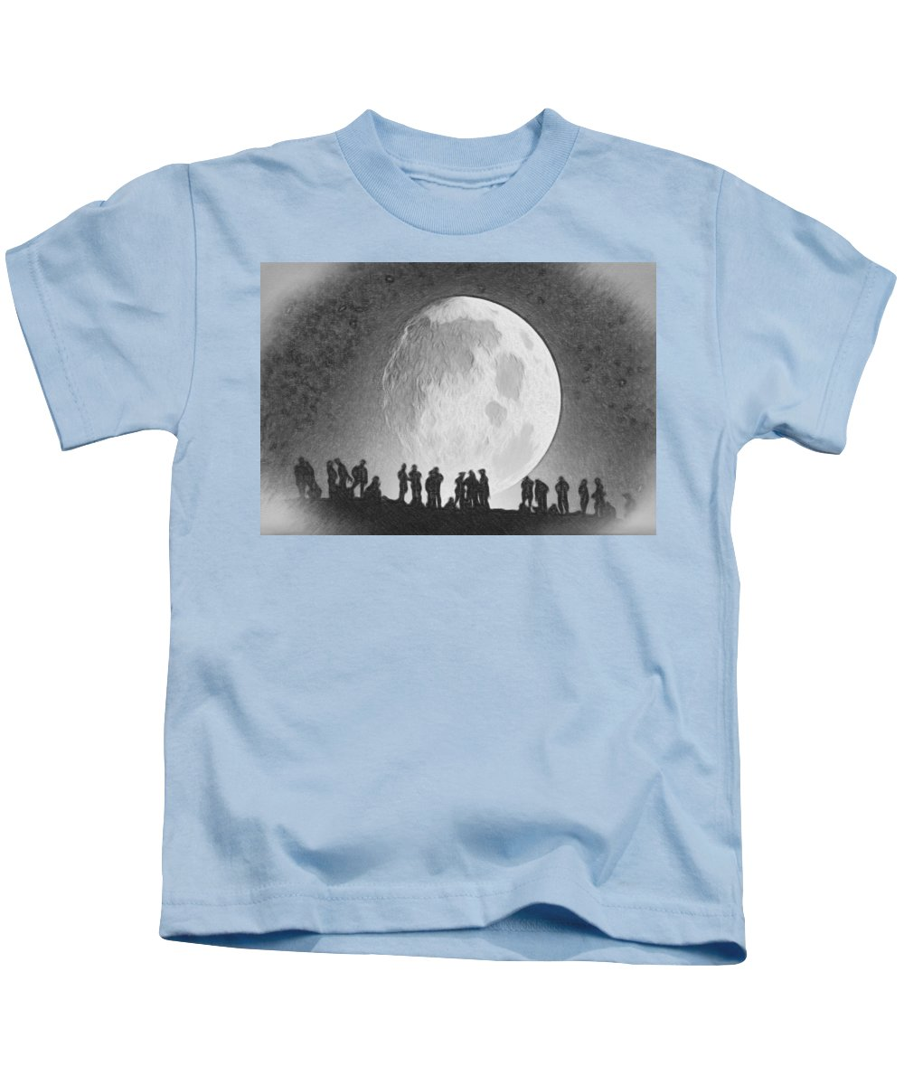 Gold Kids T-Shirt featuring the painting Moon - Id 16236-105000-9534 by S Lurk