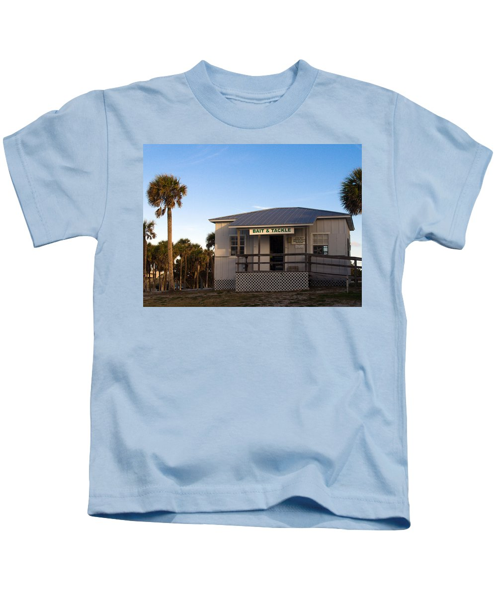 Morning Kids T-Shirt featuring the photograph Morning At Sebastian Inlet In Florida by Allan Hughes