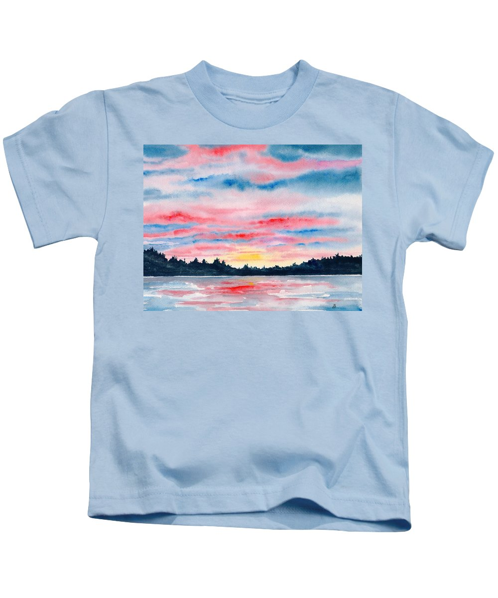 Watercolor Kids T-Shirt featuring the painting Morning Glory by Brenda Owen