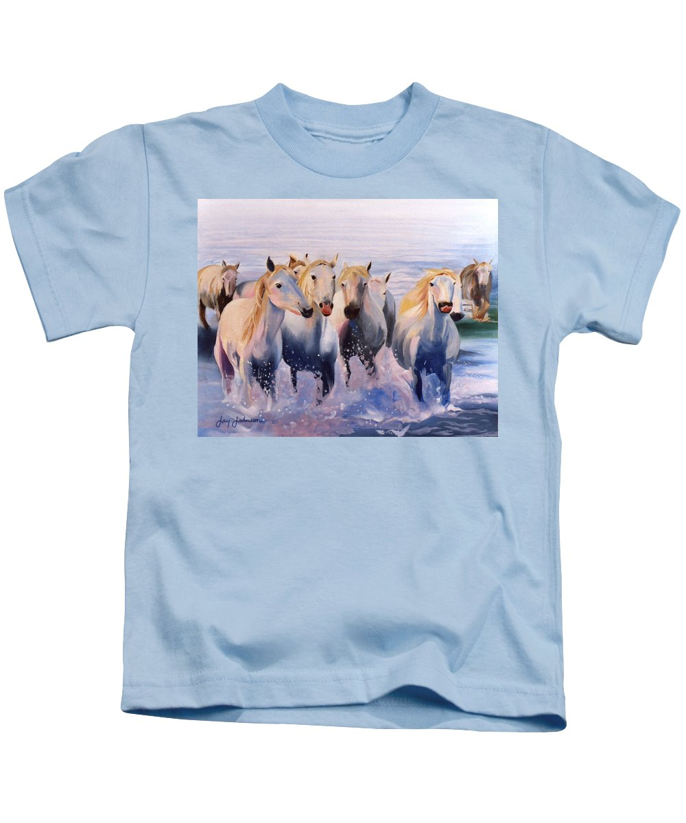 Kids T-Shirt featuring the painting Morning Run by Jay Johnson