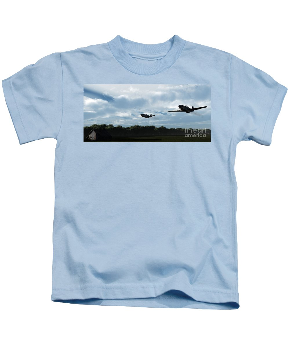 Aircraft Kids T-Shirt featuring the digital art Morning Run by Richard Rizzo