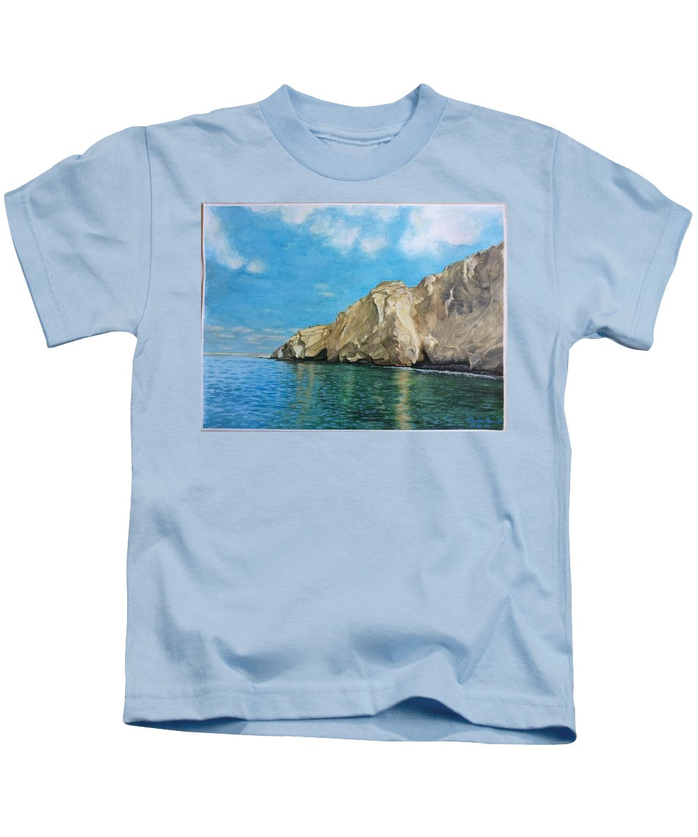 Watercolor Kids T-Shirt featuring the painting Morro Ballena North Of Chile by Carola Moreno
