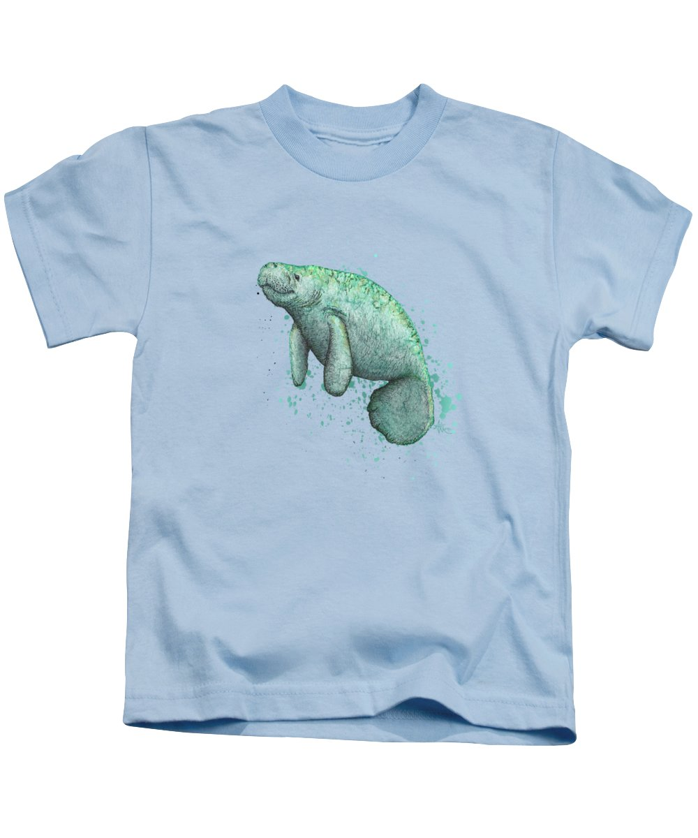 Manatee Kids T-Shirt featuring the painting Mossy Manatee by Amber Marine
