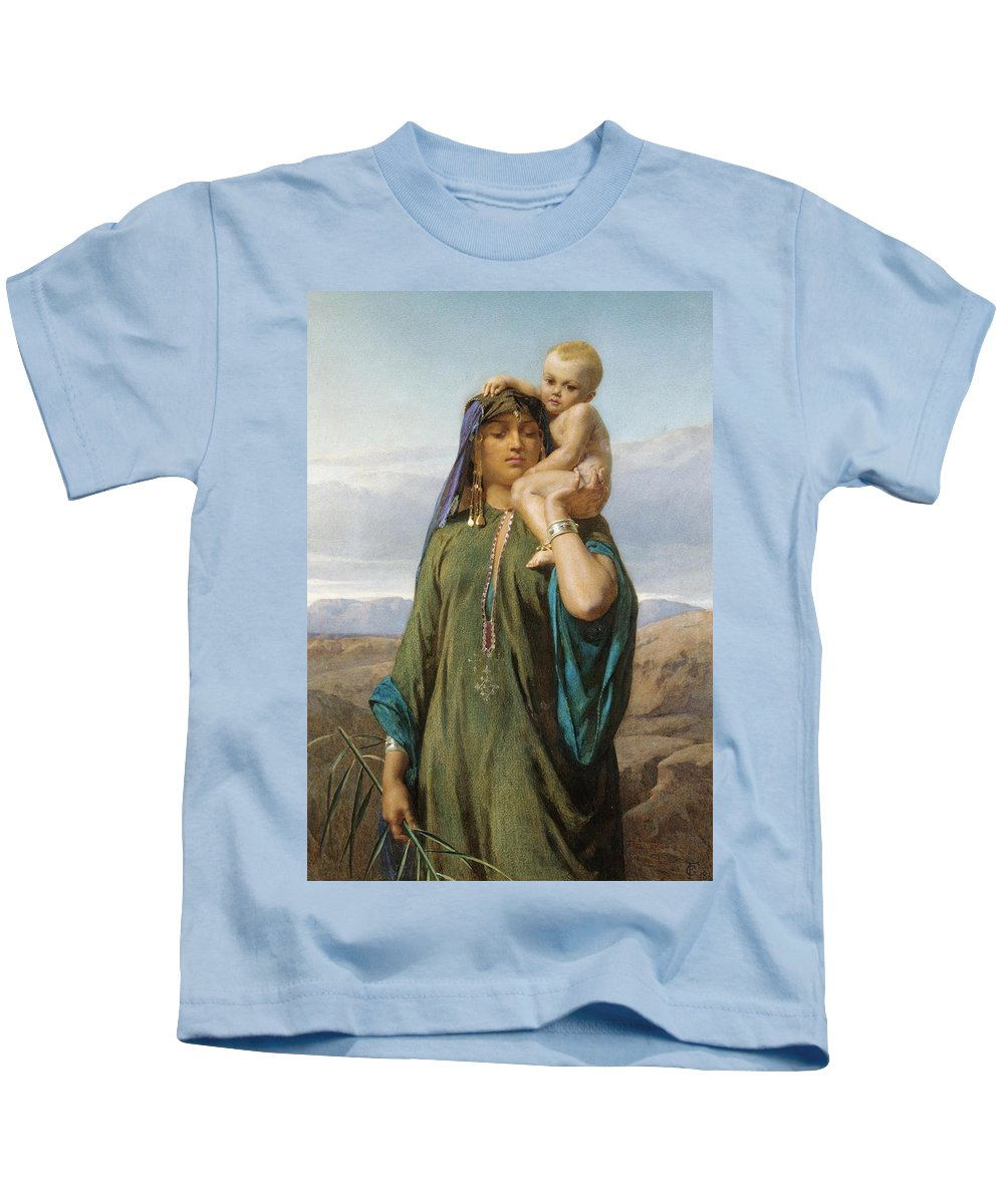 Frederick Goodall Kids T-Shirt featuring the drawing Mother And Child by Frederick Goodall