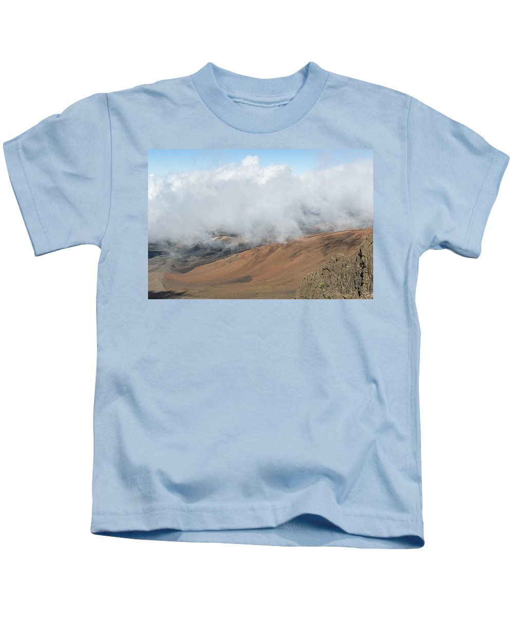 Clouds Kids T-Shirt featuring the photograph Mount Haleakala Crater by Jim Thompson