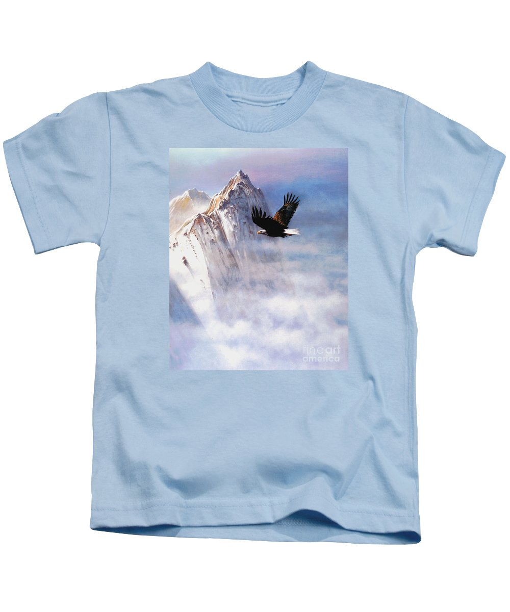 Eagle Kids T-Shirt featuring the painting Mountain Majesty by Robert Foster