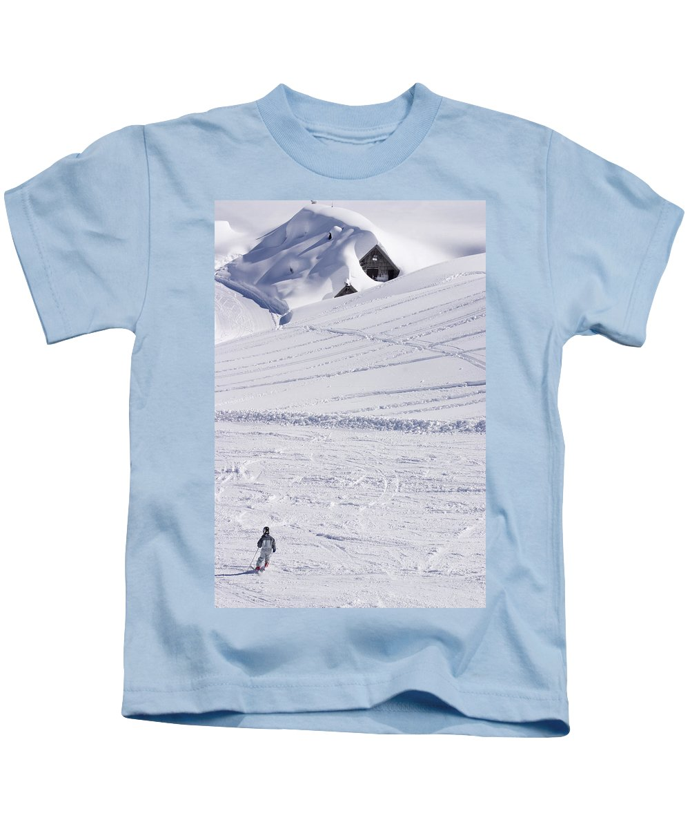 Skiing Kids T-Shirt featuring the photograph Mountain Skiing by Ian Middleton