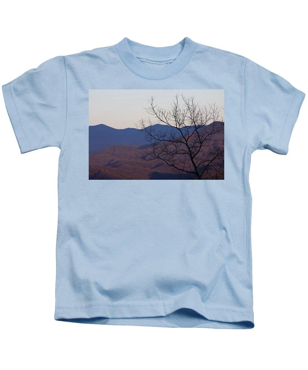 Tree Mountain Mountains Sun Sunset Sky Winter Smoky Park National Kids T-Shirt featuring the photograph Mountain Tree by Andrei Shliakhau