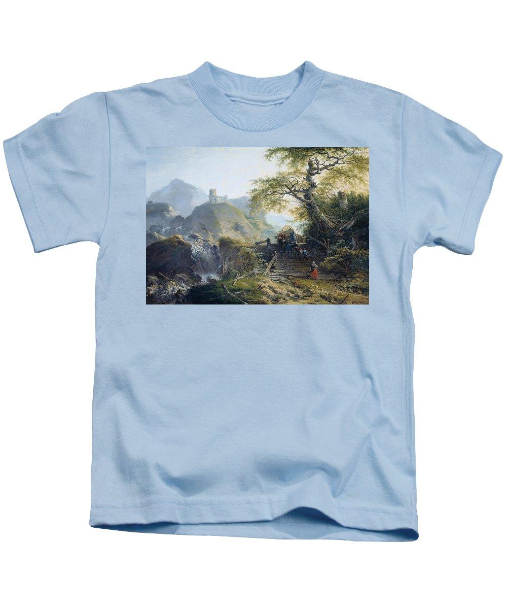 Gerard Van Nijmegen Kids T-Shirt featuring the painting Mountainous Landscape Near Duesseldorf by Gerard van Nijmegen