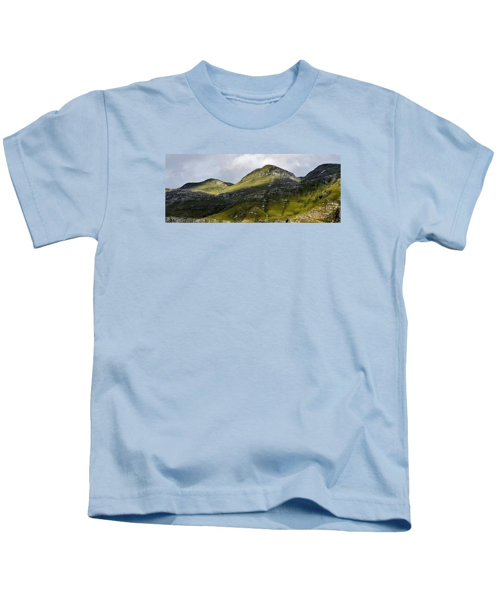 Landscape; Mountains; Hills; Morning Light; Green; Shadow And Light; Grass; Rocks; Sky; Clouds; Blue; Overberg; South Africa; Kids T-Shirt featuring the photograph Mountains In Morning Light by Werner Lehmann