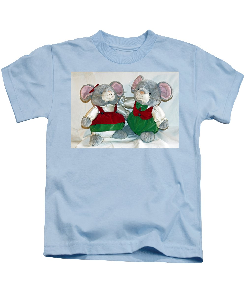 Mouse; Mice; Christmas; Rodent; Bear; Bare; Love; Lovers; Baby; Young; Boy; Girl; Affection; Animal; Kids T-Shirt featuring the photograph Mouse Love by Allan Hughes