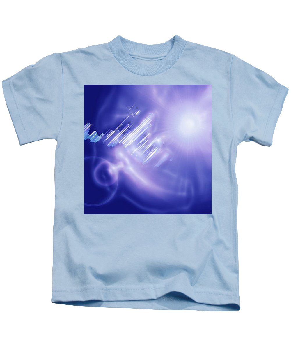 Moveonart! Digital Gallery Kids T-Shirt featuring the digital art Moveonart Mysterious Crystal City Coming Down by Jacob Kanduch
